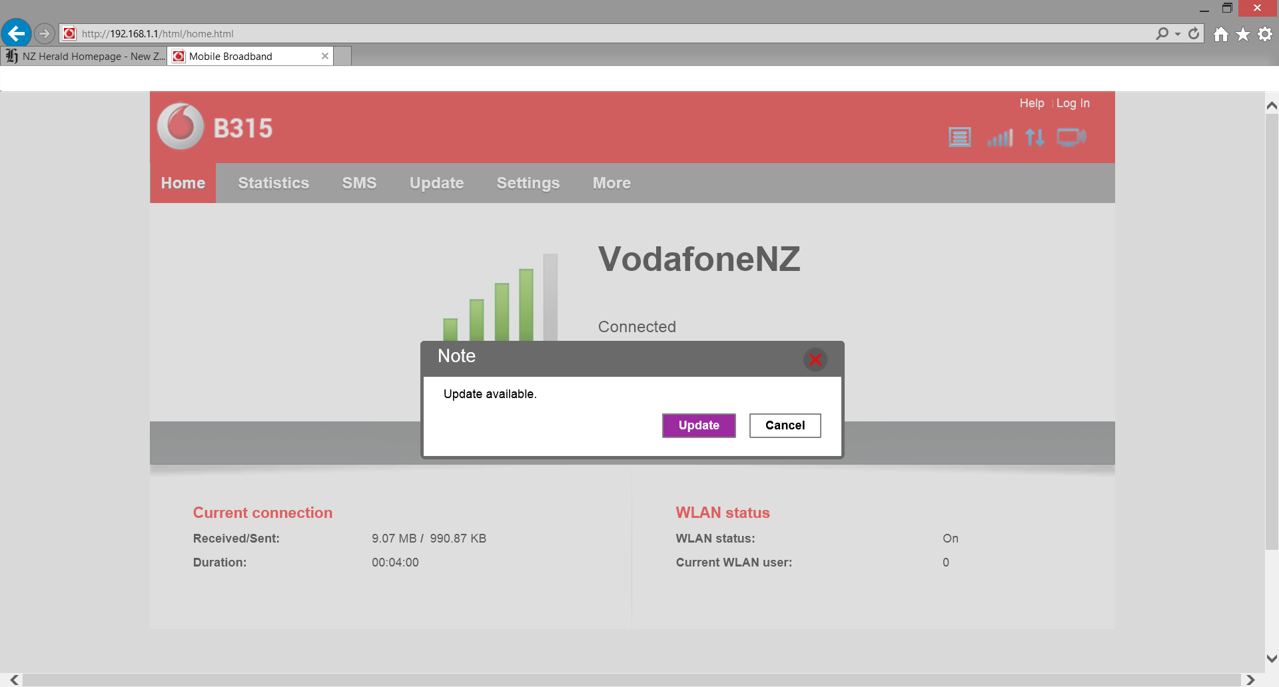 Upgrade modem firmware - Vodafone NZ